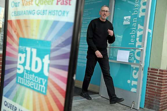 Gerard Koskovich exits the GLBT History Museum on 18th Street in The Castro in San Francisco, Calif., on Wednesday, October 12, 2016.