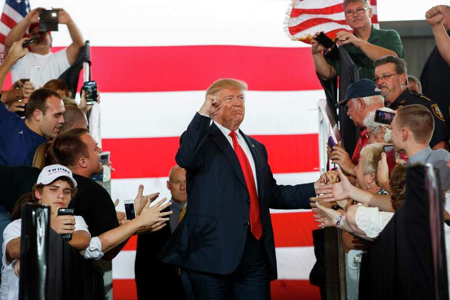 Donald Trump arrives at a campaign rally in Ocala, Fla.Keep clicking for a look at how the internet reacted to the final presidential debate.  Photo: Evan Vucci, STF / Copyright 2016 The Associated Press. All rights reserved.