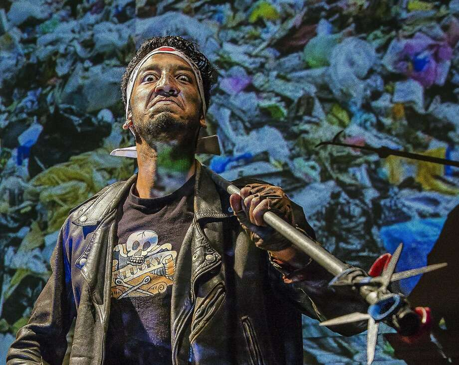 """Atomiko (Caleb Cabrera)�rules over the Tijuana�Dompe in Central Works' """"Into the Beautiful North."""" Photo: J. Norrena, Central Works"""
