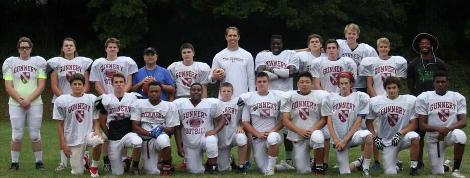 Former professional football player Patrick Kerney, center back, recently visited The Gunnery in Washington. Photo: Courtesy Of The Gunnery / The News-Times Contributed