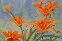 """Natures Beauty,"" an exhibit of works by Rosemary Connor is on display at the 30 Bridge Street Building at 30 Bridge St. in New Milford through Oct. 24. Connor's paintings are for sale and viewing Mondays through Saturdays from 9 a.m. to 6 p.m. Above is Connor's"" Day Lilies."""