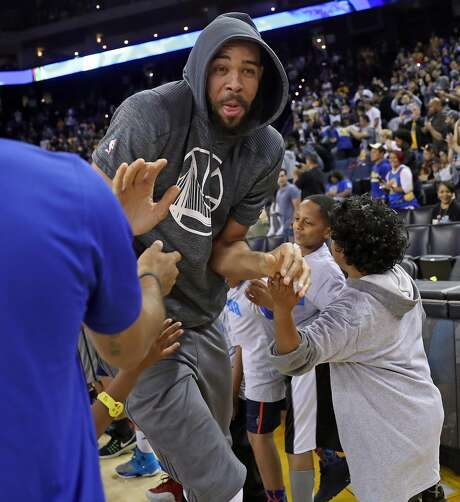 Golden State Warriors' JaVale McGee is introduced during open practice at Oracle Arena on Wednesday. Photo: Scott Strazzante, The Chronicle