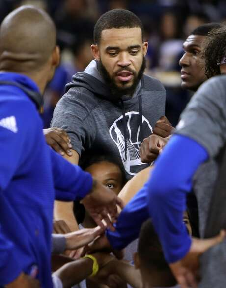 Golden State Warriors' JaVale McGee during team huddle during open practice at Oracle Arena in Oakland, Calif., on Wednesday, October 12, 2016. Photo: Scott Strazzante, The Chronicle