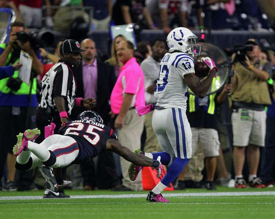Colts wide receiver T.Y. Hilton, right, is used to leaving cornerbacks like Kareem Jackson in his wake. Photo: Jon Shapley, Staff / © 2015 Houston Chronicle