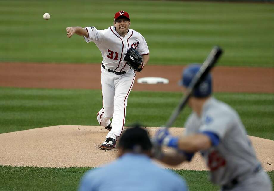 Max Scherzer allowed five hits — including two homers — and four runs in six innings Friday and took the loss in Game 1. Photo: Alex Brandon, Associated Press