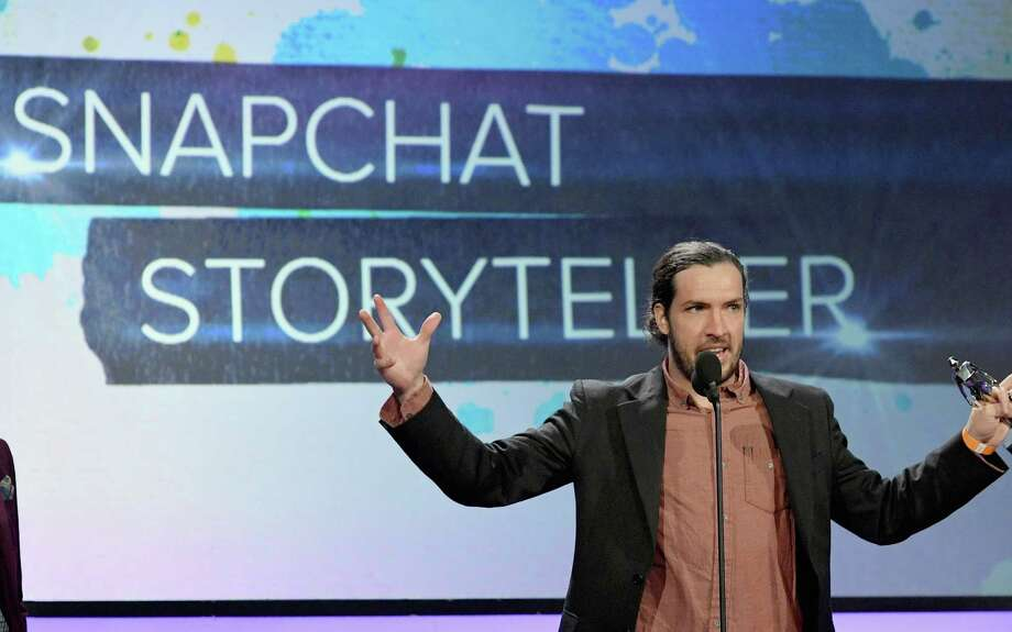 The internet personality known as Shonduras accepts a Snapchat Storyteller award this month during the Streamy Awards in Beverly Hills. Snapchat's parent, Snap, was recently valued by private investors at about $19 billion.  Photo: Mike Windle, Staff / 2016 Getty Images