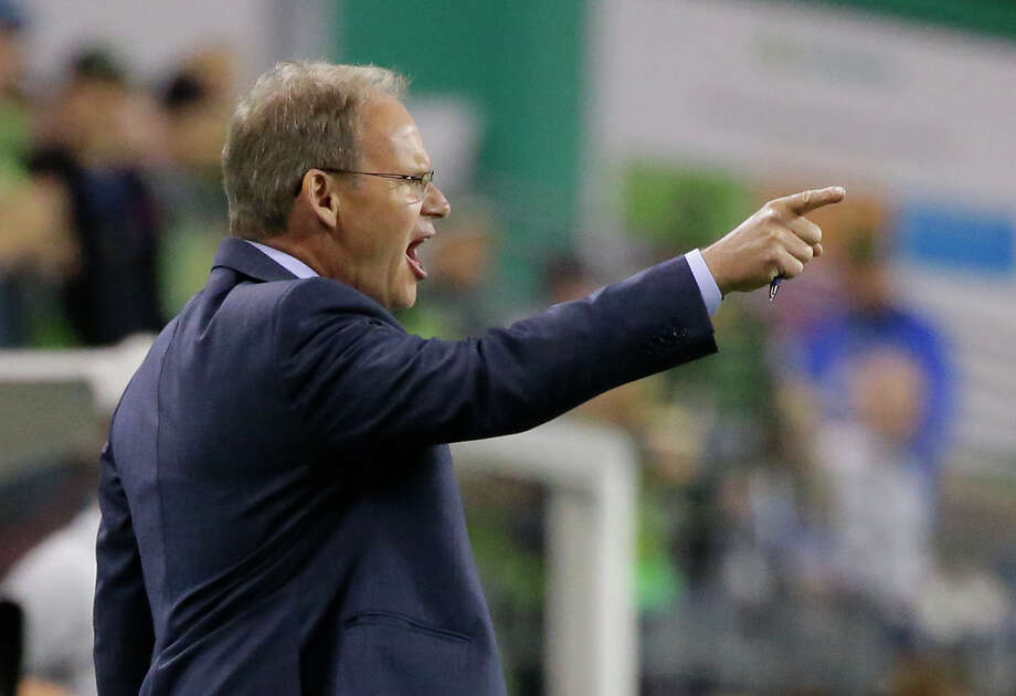 Seattle Sounders head coach Brian Schmetzer said he'd like to have at least six weeks of preparation with his team before any restart to the 2020 MLS season. Photo: Ted S. Warren, Associated Press / Copyright 2016 The Associated Press. All rights reserved.