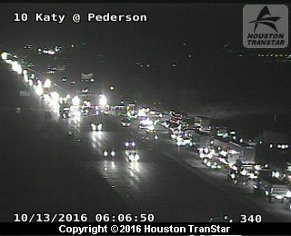 Portions of Interstate 10 are snarled in both directions after a big rig crash about 4:30 a.m. Thursday, Oct. 13, 2016, near Pederson. (Houston TranStar)