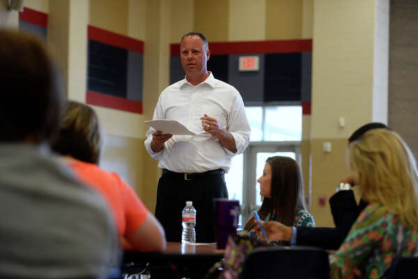 Hardin-Jefferson Superintendent Shannon Holmes speaks during a committee meeting on a proposed District of Innovation plan at Hardin-Jefferson High School on Tuesday afternoon.  Photo taken Tuesday 10/11/16 Ryan Pelham/The Enterprise