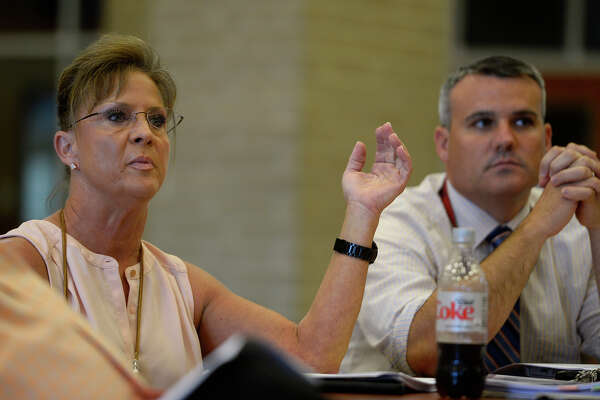 Parent Karen Kiesling raises concerns during a committee meeting on a proposed District of Innovation plan at Hardin-Jefferson High School on Tuesday afternoon. Kiesling was concerned that the plan didn't offer details. Photo taken Tuesday 10/11/16 Ryan Pelham/The Enterprise