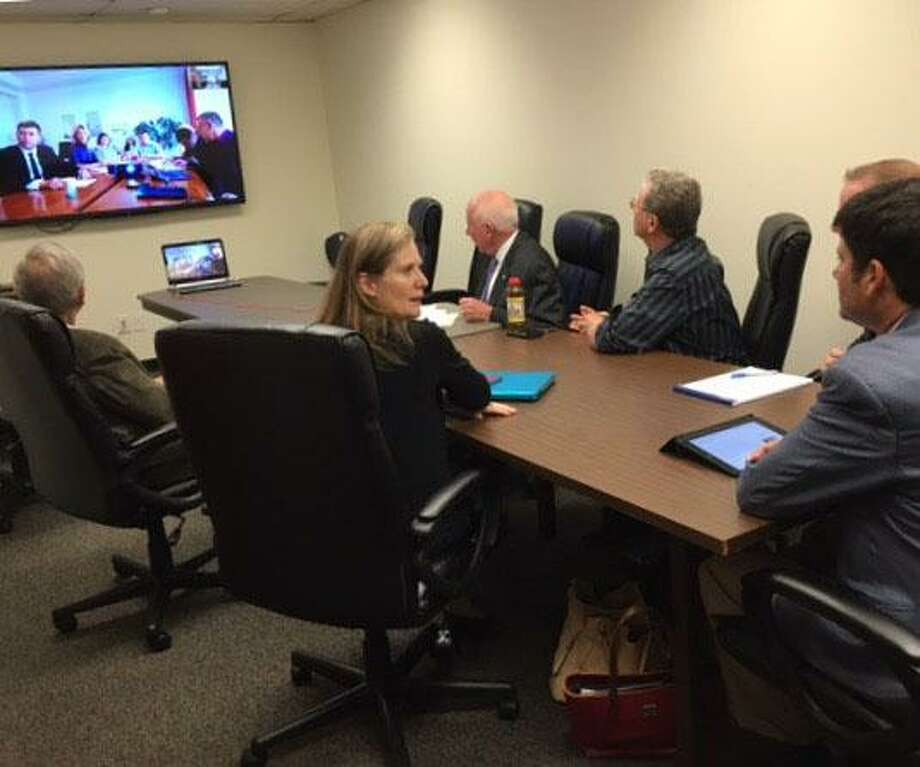 Westport officials Skype with their counterparts in Berdyansk, Ukraine, recently on issues facing the two towns. Photo: Contributed Photo / Westport News