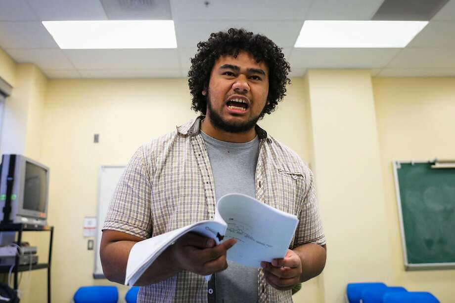 "Student Lony Sekona performs as Ben Bac Sierra while rehearsing Loco Bloco's ""On The Hill: I Am Alex Nieto,"" at CCSF's Mission campus in San Francisco, California, on Thursday, Oct. 6, 2016. Photo: Gabrielle Lurie, The Chronicle"