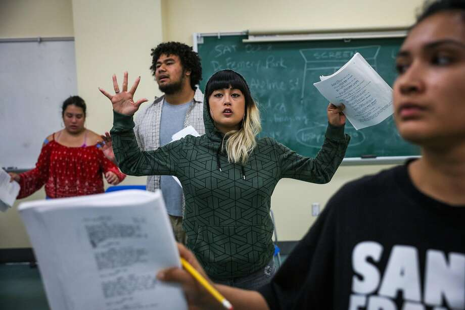 """Nicole Nutterfield (center) sings """"Don't Shoot"""" along with fellow cast members. Photo: Gabrielle Lurie, The Chronicle"""