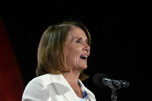 Nancy Pelosi, United States Congresswoman and Minority Leader of the United States House of Representatives speaks to the crowd at the Global Citizen Festival in New York., Saturday, Sept. 24, 2016. (AP Photo/Kathy Kmonicek)