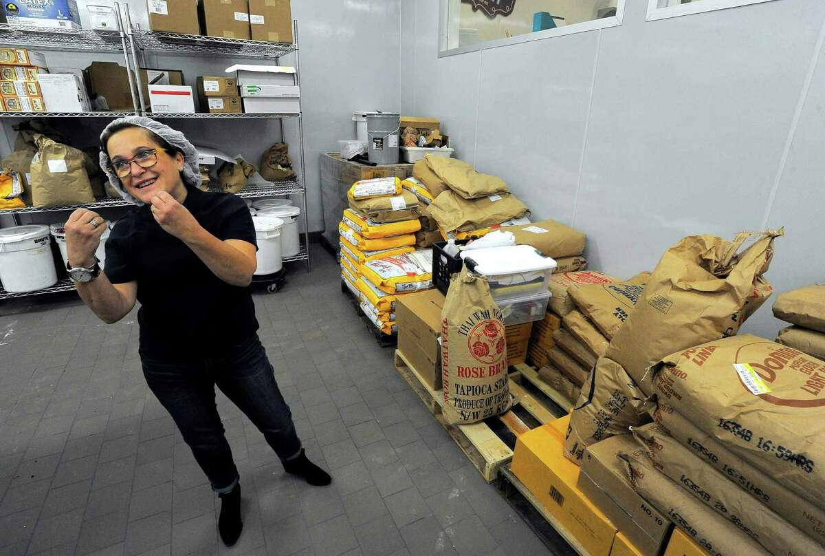 Helene Godin talks about the hours of research she's invested in finding the right ingredients that make up many tasty gluten free kosher bakery goods, that are prepared at her companies new state of the art bakery facility in Pleasantville, New York on Tuesday.
