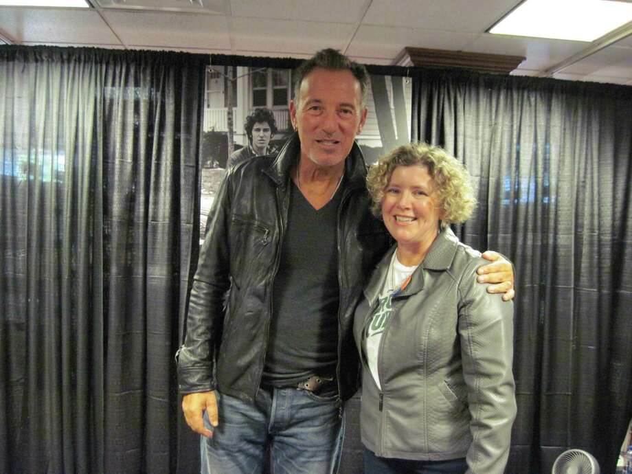 Bruce Springsteen meets Joyce Bassett at Harvard Coop Bookstore, Cambridge, Mass. on October 10, 2016.