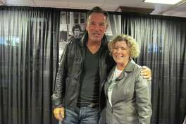 Bruce Springsteen meets Joyce Bassett at Harvard Coop Bookstore, Cambridge, Mass. on October 10, 2016.
