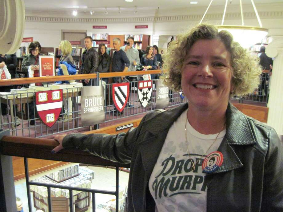 Joyce Bassett in line for Bruce Springsteen at Harvard Coop Bookstore, Cambridge, Mass. on October 10, 2016.  (Joyce Bassett / Times Union)