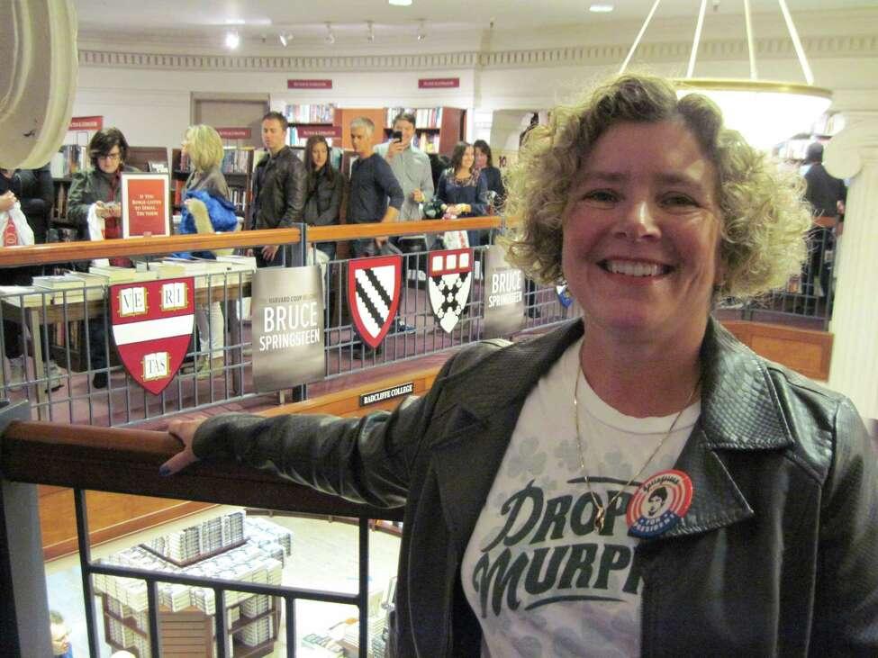 Joyce Bassett in line for Bruce Springsteen at Harvard Coop Bookstore, Cambridge, Mass. on October 10, 2016. (Joyce Bassett / Times Union)