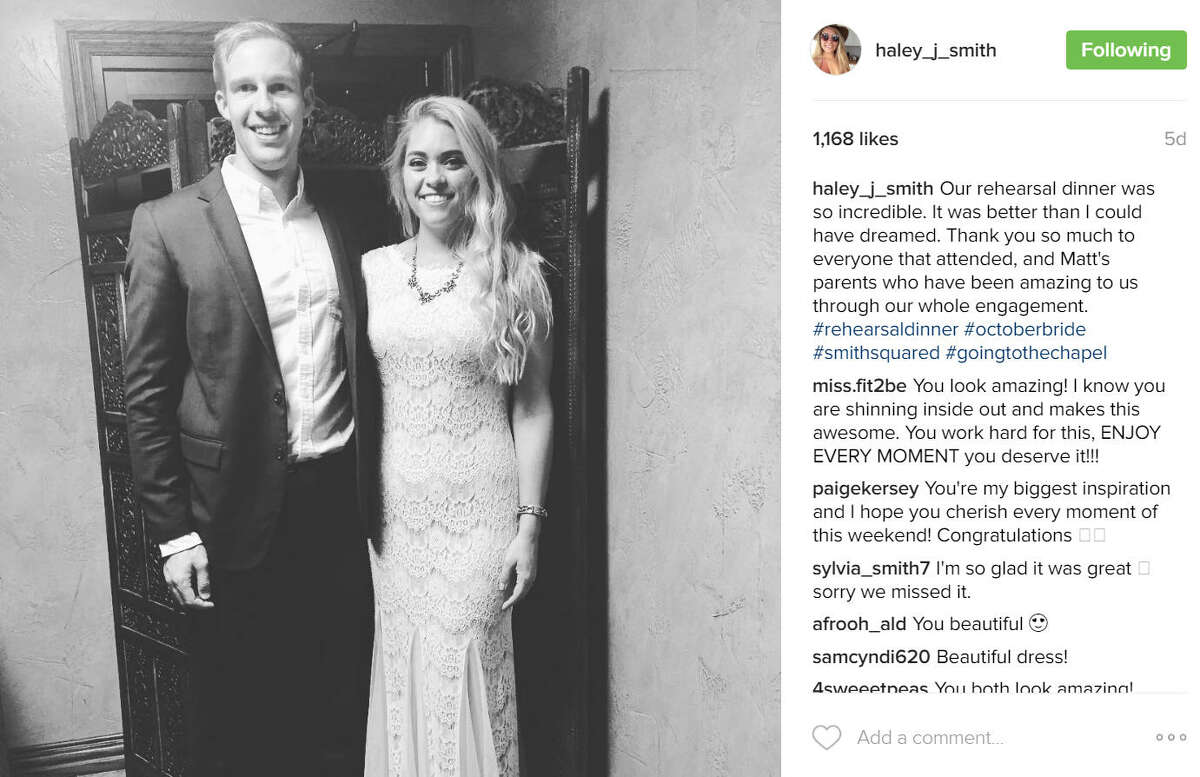 Haley Smith sweated for her wedding by getting healthy and pushing herself for15 monthsto lose over 100 pounds for her big day. Source:Instagram