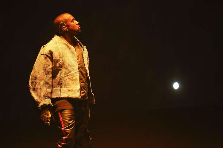Kanye West performs during the opening of his Saint Pablo Tour in Indianapolis, Aug. 25, 2016. The tour celebrates his still-evolving February album �The Life of Pablo� � which came to Bankers Life Fieldhouse in Indianapolis on Thursday night. (AJ Mast/The New York Times)