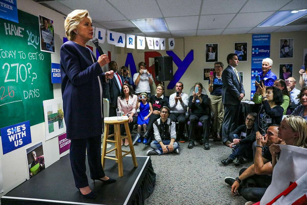 U.S. Democratic Presidential nominee Hillary Clinton speaks at an event at the DNC headquarters on Van Ness Avenue in San Francisco, California, on Thursday, Oct. 13, 2016.