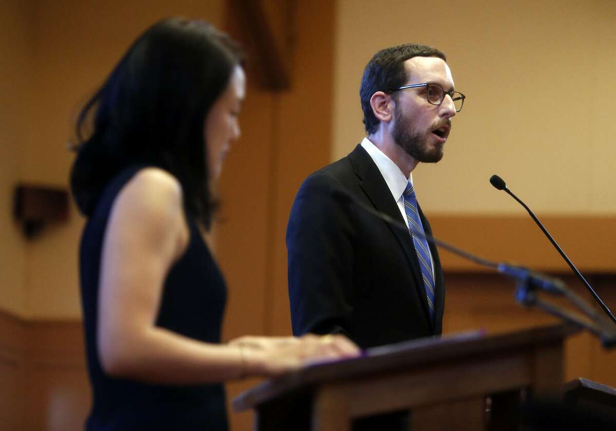 Scott Wiener speaks during his District 11 State Senatorial debate with Jane Kim at Congregation Sha'ar Zahav in San Francisco, Calif., on Wednesday, April 6, 2016.