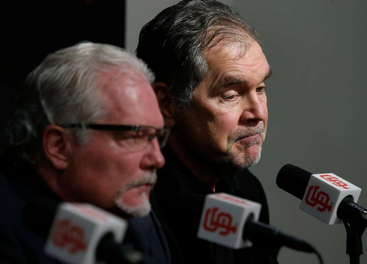 Manager Bruce Bochy comments on the past season with Brian Sabean at AT&T Park in San Francisco, Calif. on Thursday, Oct. 13, 2016, two days after the Giants were eliminated in the NLDS by the Chicago Cubs.