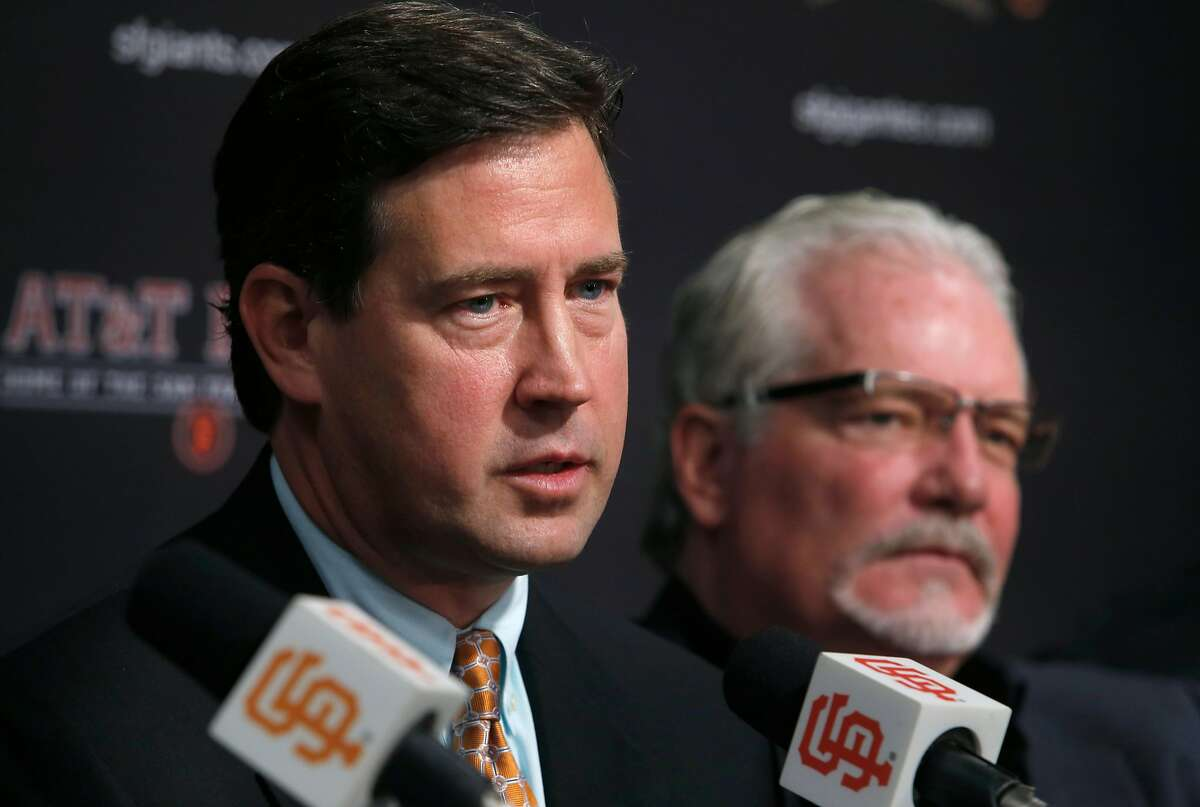 General Manager Bobby Evans discusses the 2016 season with Brian Sabean at AT&T Park in San Francisco, Calif. on Thursday, Oct. 13, 2016, two days after the Giants were eliminated in the NLDS by the Chicago Cubs.