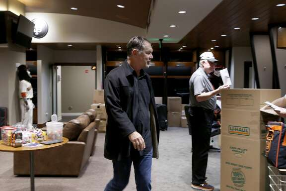 Manager Bruce Bochy walks through the Giants clubhouse at AT&T Park in San Francisco, Calif. on Thursday, Oct. 13, 2016, two days after the team was eliminated in the NLDS by the Chicago Cubs.