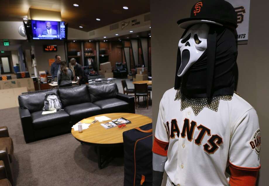 A horror mask is placed on a uniform-wearing mannequin in the Giants clubhouse at AT&T Park in San Francisco, Calif. on Thursday, Oct. 13, 2016, two days after the team was eliminated in the NLDS by the Chicago Cubs. Photo: Paul Chinn, The Chronicle