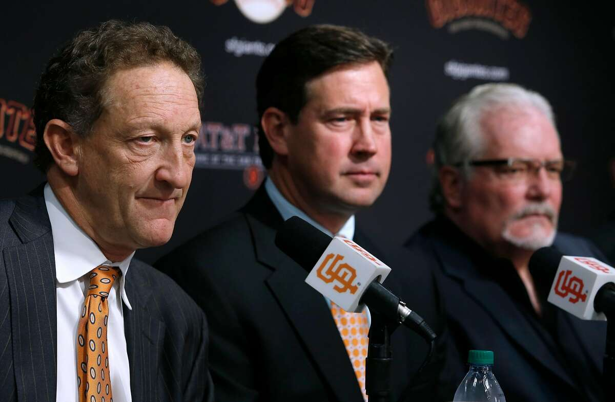 Larry Baer (left) comments on the 2016 season with Bobby Evans and Brian Sabean at AT&T Park in San Francisco, Calif. on Thursday, Oct. 13, 2016, two days after the Giants were eliminated in the NLDS by the Chicago Cubs.