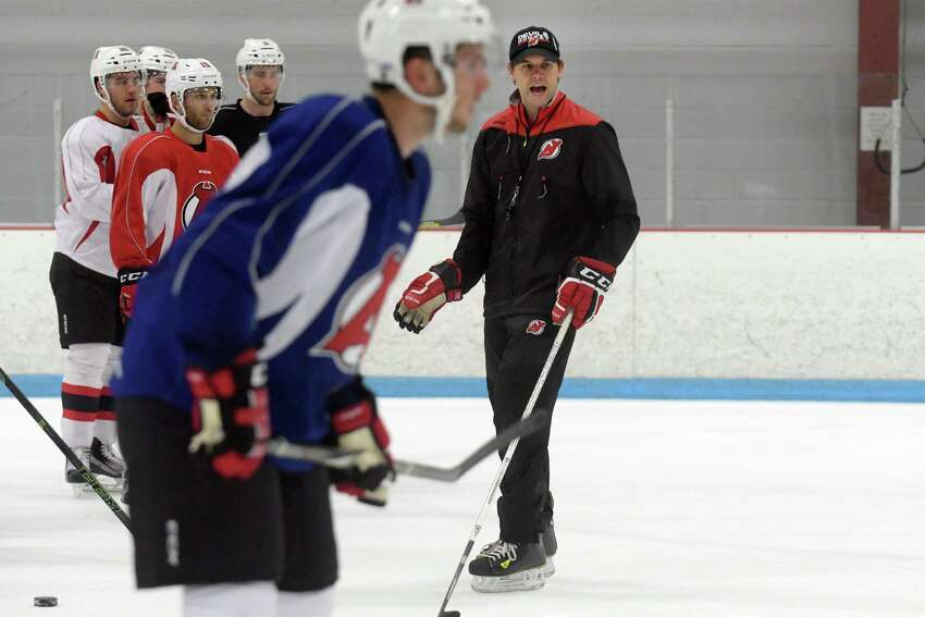 Albany Devils coach Rick Kowalsky instructs his players during practice at Knickerbacker Ice Arena on Monday, Oct. 3, 2016, in Troy, N.Y. (Paul Buckowski / Times Union) ORG XMIT: ALB1610031519503279