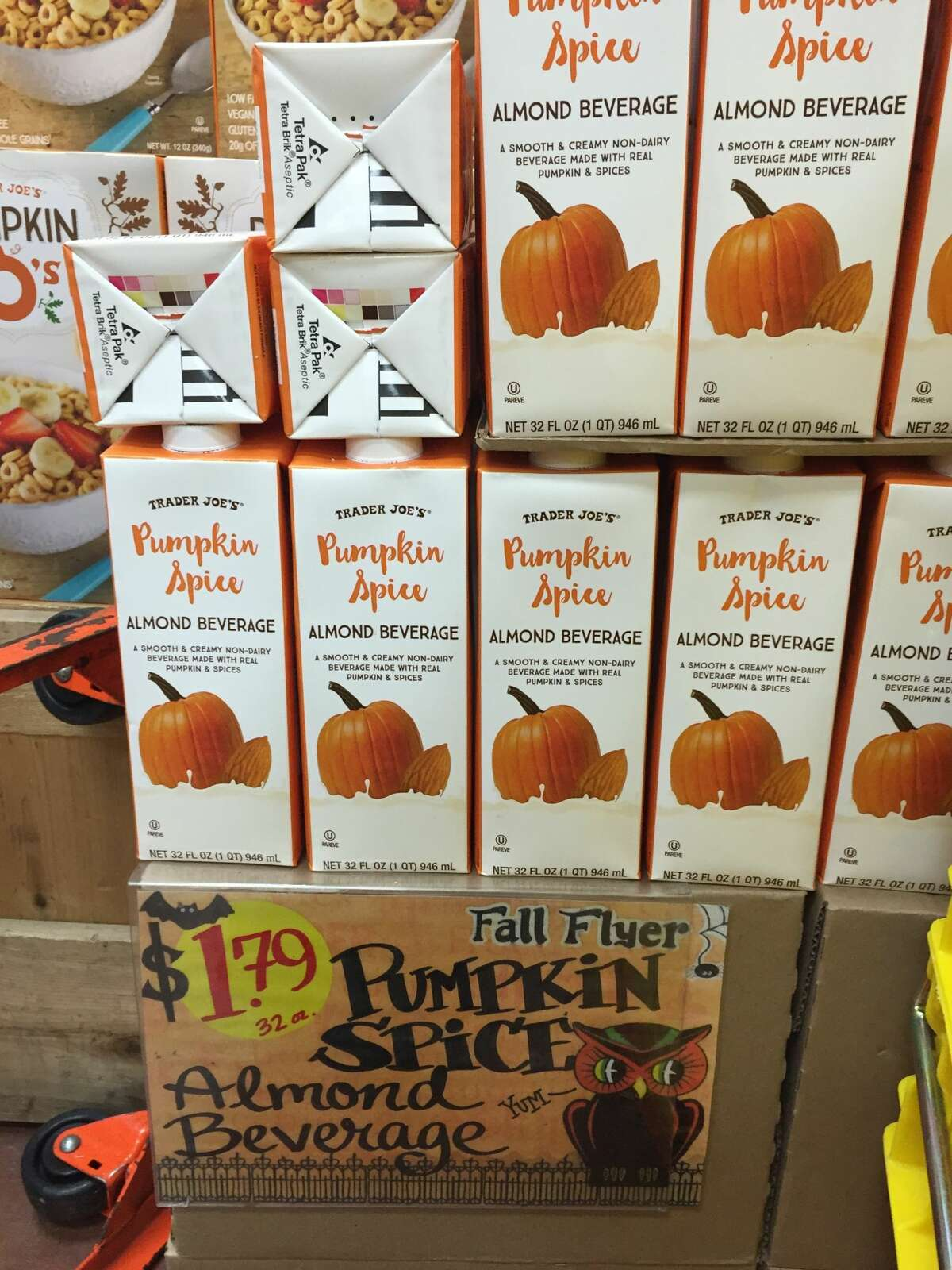 1) Trader Joe's Pumpkin Spice Almond Beverage: This beverage is a bit thicker than most almond milks due to the addition of pumpkin purée.