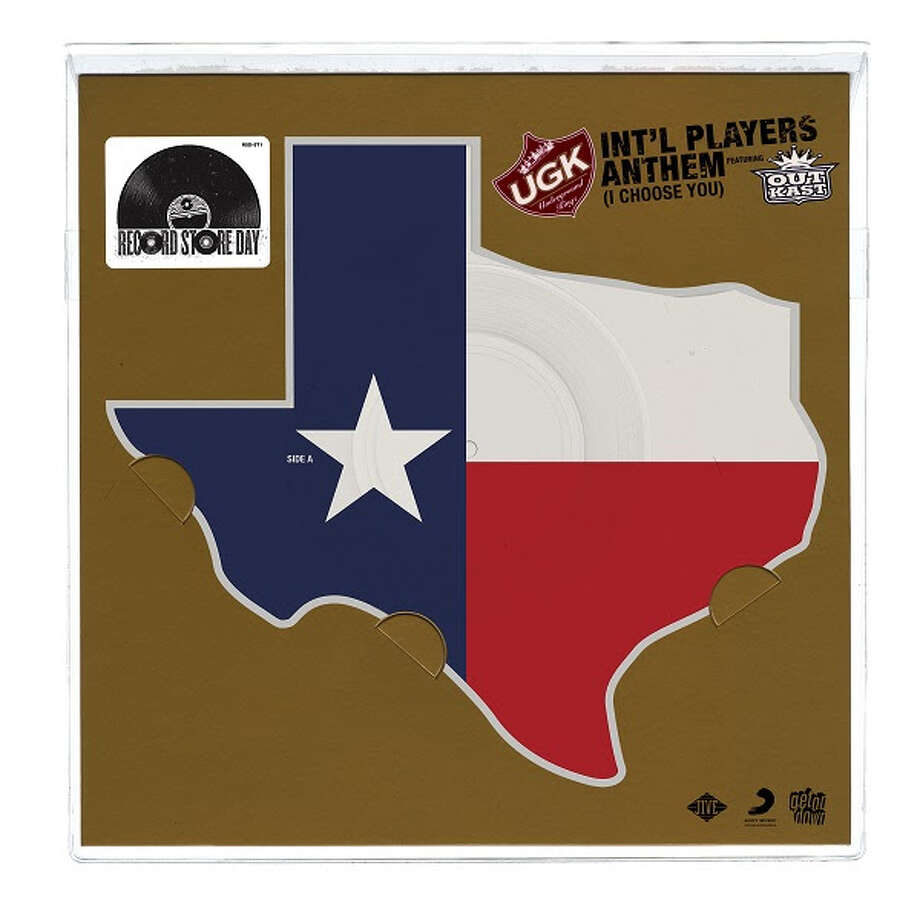 """On November 25, Black Friday, Boston-based vinyl imprint Get On Down will release a Texas-shaped vinyl copy of the tag-team single """"Int'l Players Anthem (I Choose You)"""" into record stores. The song saw Texas rap act UGK and Atlanta duo Outkast team up for a catchy anthem that was seemingly inescapable the summer of 2007. Photo: Get On Down"""