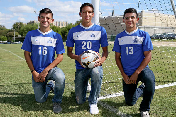 Our Lady of the Lake University soccer players Hugo Plascencia (from left), Luis Sanchez and Oscar Plascencia played together at Jay H.S.