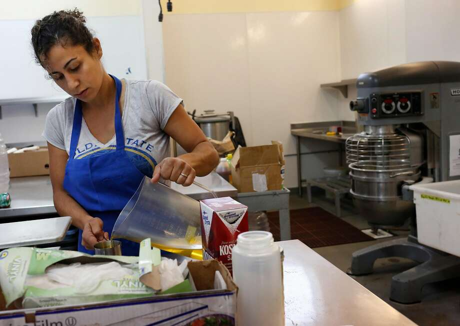Reem Assil begins production day where the food for the week is prepped at La Cocina Community Kitchen Oct. 11, 2016 in San Francisco, Calif. Photo: Leah Millis, The Chronicle