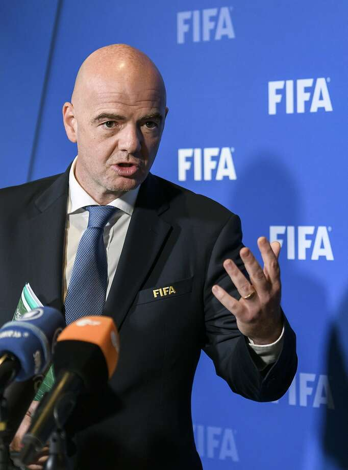 FIFA president Gianni Infantino gestures during a press briefing on October 13, 2016 at the world football's governing body headquarters in Zurich. / AFP PHOTO / FABRICE COFFRINIFABRICE COFFRINI/AFP/Getty Images Photo: FABRICE COFFRINI, AFP/Getty Images
