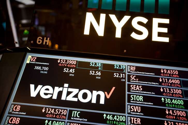 Verizon Communications Inc. signage is displayed on a monitor on the floor of the New York Stock Exchange (NYSE) in New York, U.S., on Monday, Sept. 26, 2016. U.S. stocks fell, tracking declines in European shares spurred by weakness in banks, while investors awaited a presidential debate tonight and a meeting between major oil producers this week. Photographer: Michael Nagle/Bloomberg