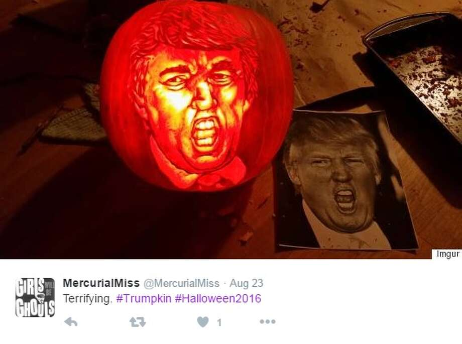 """Trumpkins"" are pumpkins carved or painted to look like Donald Trump, the Republican nominee for president. Photo: Courtesy/Twitter"