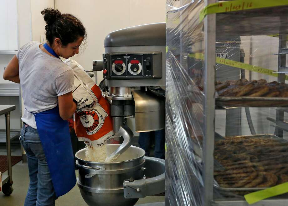 Reem Assil prepares dough in 2016 in the kitchen at La Cocina, an incubator in S.F.'s Mission District for entrepreneurs in restaurants and other businesses. Photo: Leah Millis / The Chronicle 2016