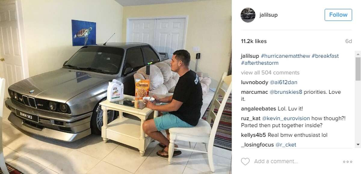 Randy Jalil, of Port St. Lucie, Fla., wasn't going to let Hurricane Matthew ruin his BMW. Image viaInstagram