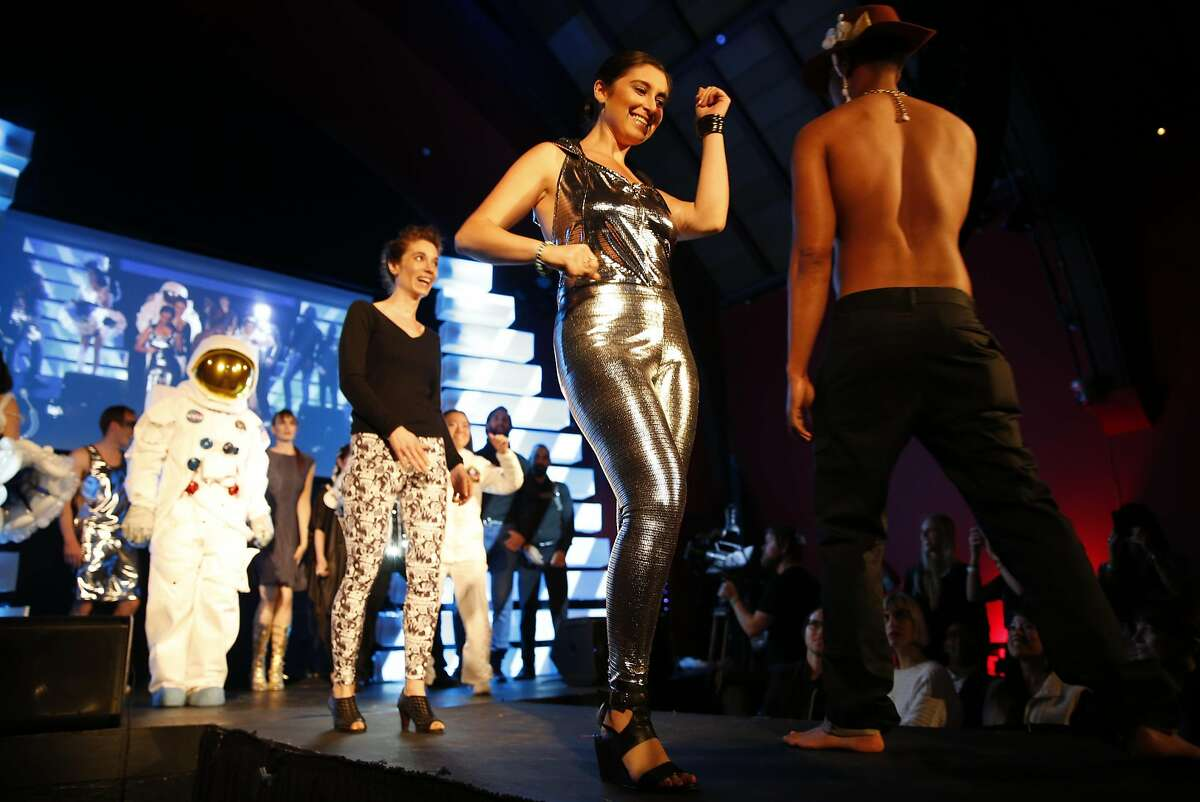 A Betabrand disco outfit is part of grand finale of Crowdfunding Fashion Show at The Chapel on final night of 3-day Silicon Valley Fashion Week in San Francisco, Calif., on Thursday, May 14, 2015.