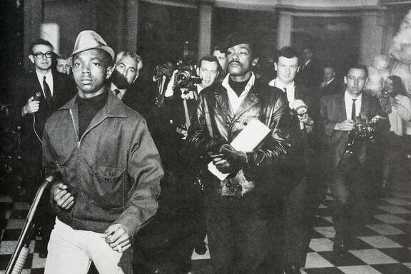 Lil� Bobby Hutton and Bobby Seale storming the California State Capitol in Sacramento, May 2, 1967