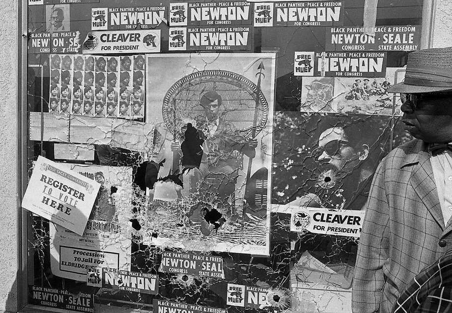 The window that was shot out at the Black Panthers headquarters in Oakland, Sept. 10, 1968. Photo: Art Frisch, The Chronicle