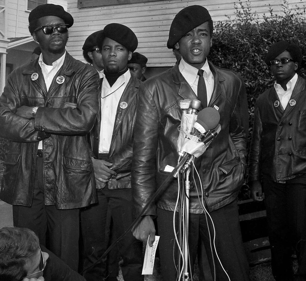The funeral of Black Panther Bobby Hutton 04/17/1968 Bobby Seale Speaks at the scene of the shoot out.