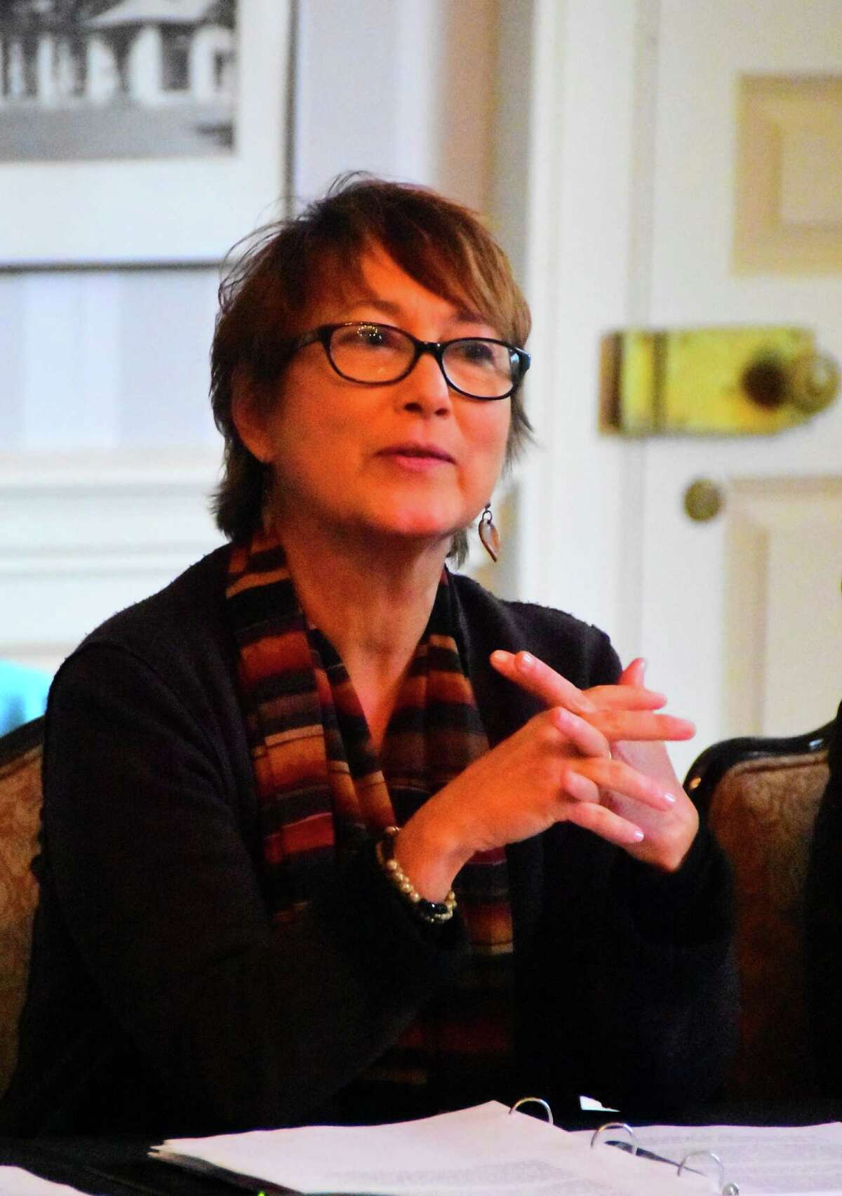 Elizabeth Sobol, the new president and CEO of the Saratoga Performing Arts Center, speaks to board members and staff during a meeting at the Hall of Springs in Saratoga Springs on Thursday, Oct. 13, 2016. (Steve Barnes/Times Union)