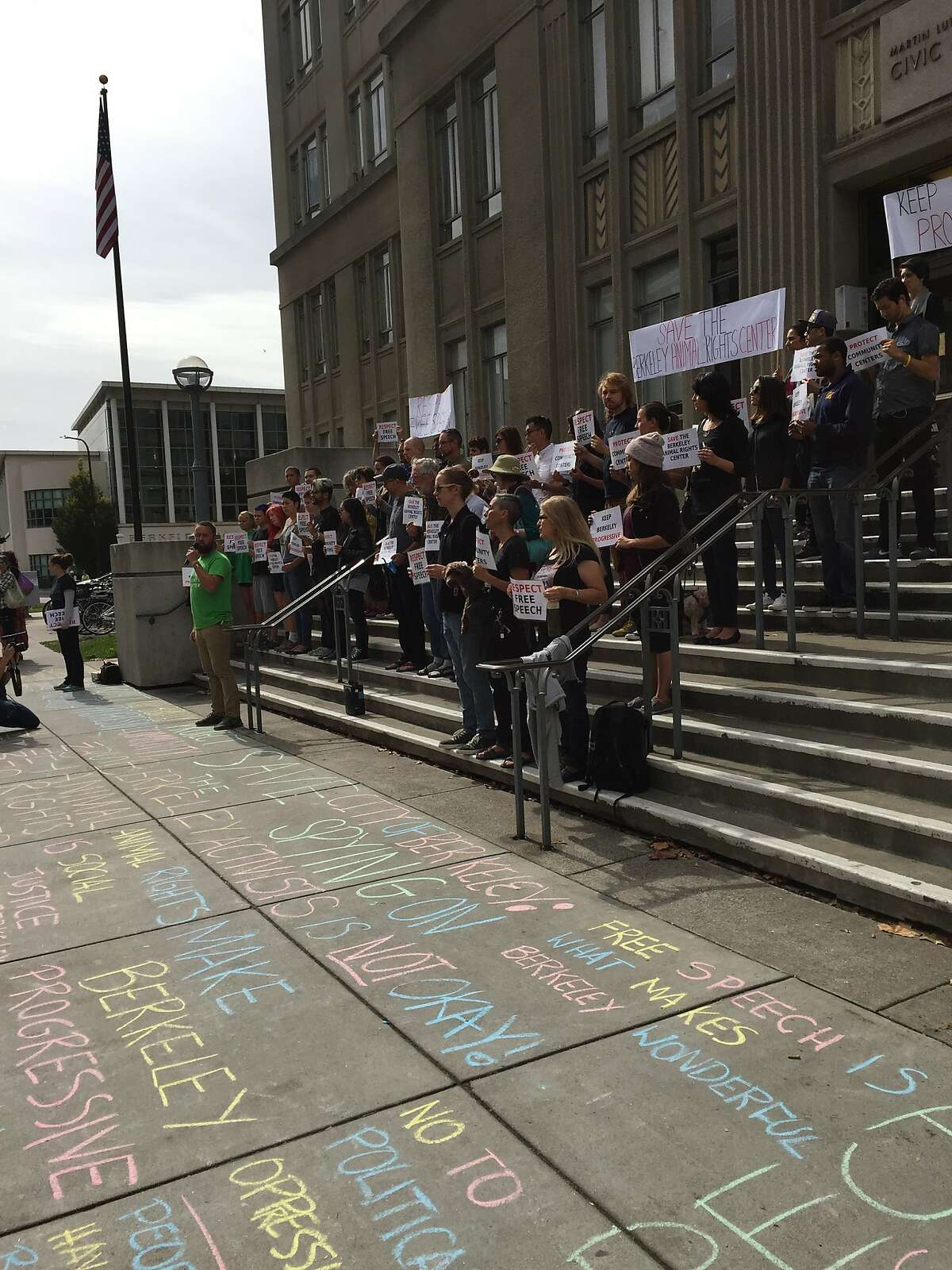 Activists protest the Berkeley Animal Rights Center's threat of eviction on the steps of City Hall in Berkeley on Thursday, Oct. 13, 2016.
