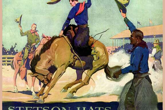 Stetson Hats, best known in the world. Company started in 1865 by John B Stetson. Poster images like this cowboy with his horse supported the Myth of the West, and reflected the values readers of Western novels and viewers of Western movies came to expect. (Photo by: Universal History Archive/UIG via Getty images)