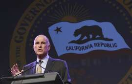 FILE - In this May 18, 2016, file photo, California Gov. Jerry Brown gestures during a community event in Sacramento, Calif. Brown dramatically altered California�s criminal sentencing system when he was first governor a generation ago. Now, with Proposition 57, he is asking voters to change it back, to give corrections and parole officials more say in when criminals are released, and strip prosecutors of the power to decide when juveniles should be tried as adults to rein in a legal code he believes has tilted too far in favor of get-tough policies. (AP Photo/Rich Pedroncelli, File)